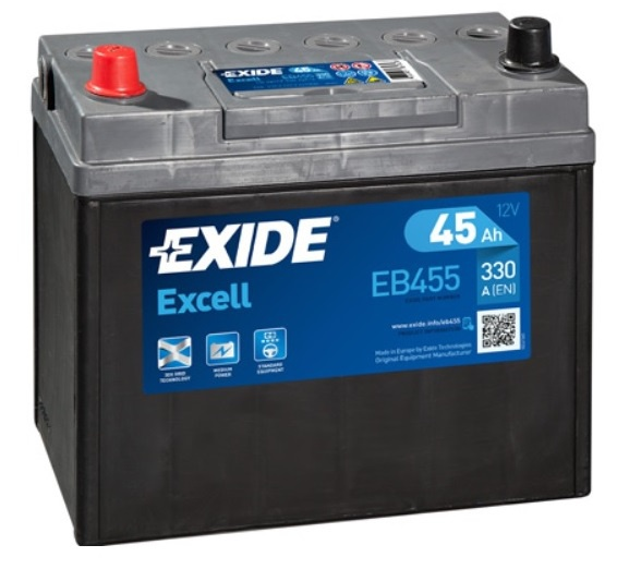 Autobaterie EXIDE Excell 45Ah, 12V, 330A, EB455